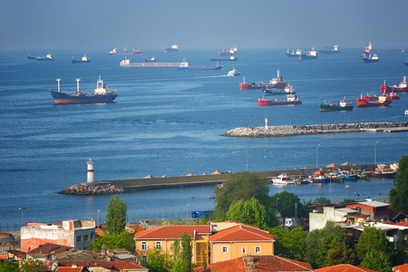 istanbul: Ships stand on an anchor in the Sea of Marmara, Istanbul