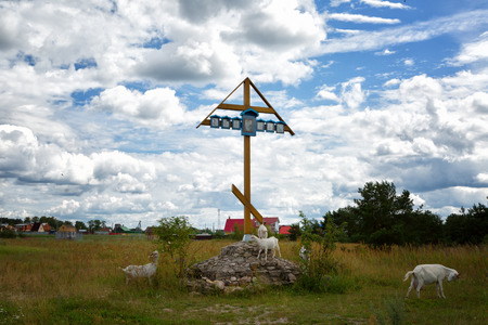 memorable: Memorable cross in memory of great standing on Ugra in Sacred Tikhonova the monastery and the goats who are grazed near it