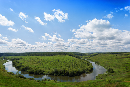 View of Krasivaya Mecha River from the high hill in the sunny summer day