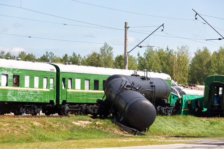 derail: Crash of trains: the passenger train collided with the freight train
