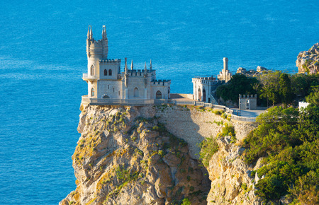nest: Swallows Nest castle on the rock over the Black Sea. Gaspra. Crimea