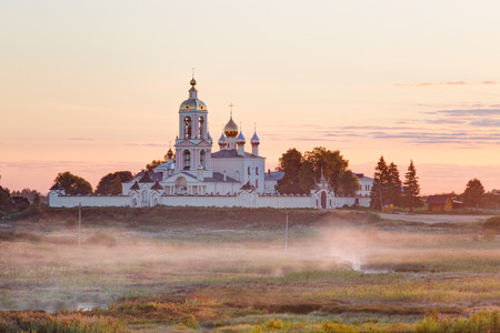lord's: Village Pogost-Krest. Monastery of the Lords Life-giving Cross at sunrise