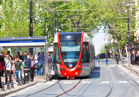 istanbul: ISTANBUL, TURKEY - MAY 12 ,2015:Modern tram on Sultanahmet District. Editorial