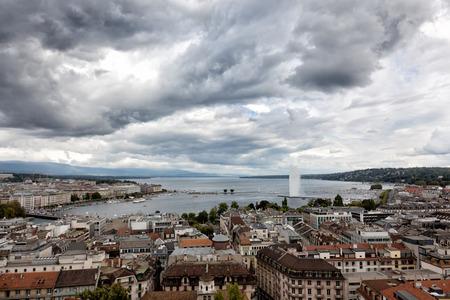 leman: Panoramic view of city of Geneva, the Leman Lake and the Water Jet, in Switzerland, Europe, aerial view