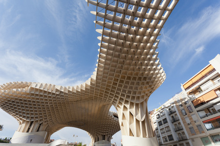 polyurethane: SEVILLA,SPAIN -SEPTEMBER 17, 2013 : Metropol Parasol in Plaza de la Encarnacion in Sevilla, J. Mayer H. architects, it is made from bonded timber with a polyurethane coating Editorial