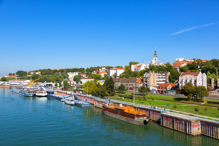 Belgrade from river Sava with tourist riverboats on a sunny day Stock Photo