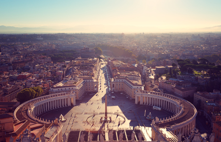 st  peter's basilica pope: Rome, Italy. Famous Saint Peters Square in Vatican and aerial view of the city