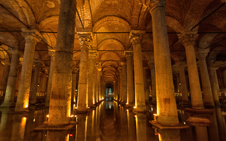 constantinople: TURKEY, ISTANBUL - MAY 15, 2015: Basilica Cistern in Istanbul. Basilica Cistern- one of the largest and well remained ancient underground reservoirs of Constantinople