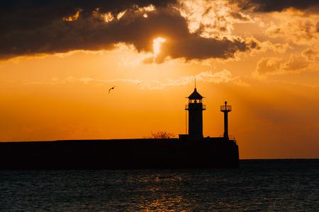 beacon: Yalta Beacon at sunrise, Crimea, Russia Stock Photo