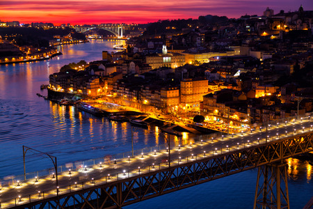 urban decline: Old city of Porto at sunset, Portugal