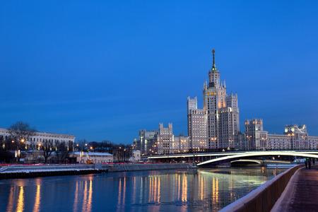 kotelnicheskaya embankment: Moscow cityscape high-rise building on kotelnicheskaya embankment