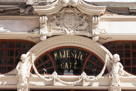 majestic: PORTUGAL, PORTO - SEPTEMBER 21.1013: Facade Majestic Cafe. Majestic - famous cafe in the port located in a historic building built in 1921.