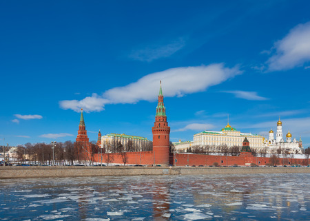 moskva river: Moscow Kremlin on a clear sunny winter day, the view from the embankment of the Moskva River, Russia Editorial