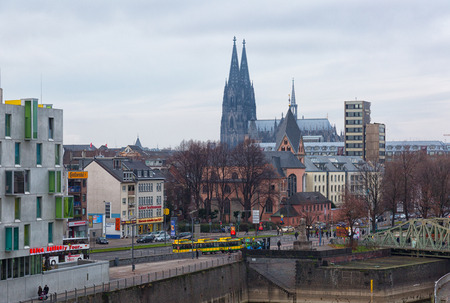 rhine westphalia: GERMANY, COLOGNE - JANUARY 1, 2016: View of the downtown. The population of Cologne makes 1 000 298 people. Editorial