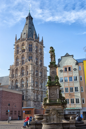 rhine westphalia: GERMANY, COLOGNE - DECEMBER 31, 2015: City town hall and monument of Jan v. Werht. The town hall is between the areas of Rathausplatz and Alter Markt .