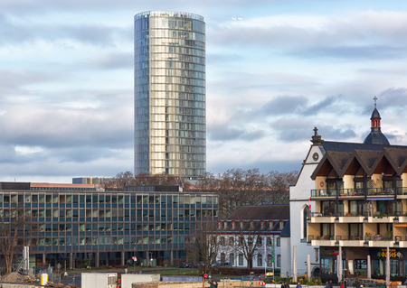 rhine westphalia: GERMANY, COLOGNE - JANUARY 1, 2016: View of the high-rise building of KölnTriangle. Height of the building is 103 meters.