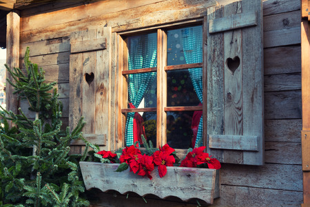 adorned: Window farmhouse adorned with blossoming  Poinsettia Stock Photo