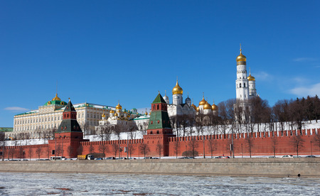 Russia Moscow Kremlin and river view in winter