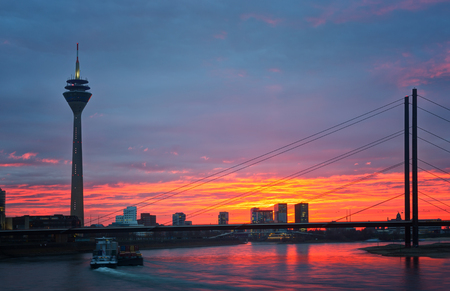 rhine westphalia: sunset of Rhein river at Dusseldorf in germany Stock Photo