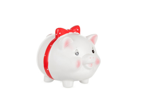 outgoings: Isolated white piggy box for financial concepts Stock Photo
