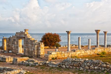 grecian: Ruins of ancient Greek town Chersonese in Crimea on Black sea. Stock Photo