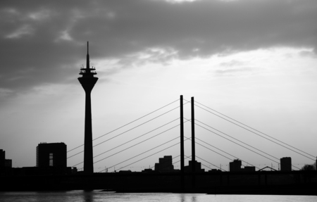 rhine westphalia: Dyusseldorf- view of the television tower and the cable-stayed bridge. Monochrome.