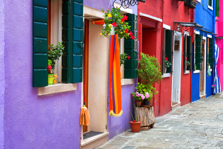 burano: Burano, colorful walls of the houses, Italy Stock Photo