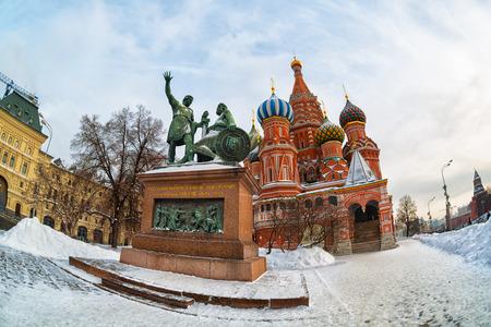 ロシア ・ モスクワ赤の広場、聖バジルの大聖堂、魚眼レンズ 写真素材