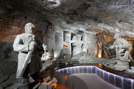 windlass: WIELICZKA, POLAND - JANUARY 2, 2015: Wieliczka Salt Mine (13th century) is one of the worlds oldest salt mines. Has over 300 corridors and 300 chambers on 9 levels.