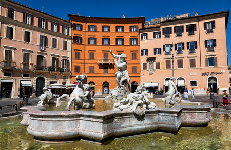navona: ROME, ITALY - SEPTEMBER 22, 2015: Piazza Navona, Neptune Fountain. Piazza Navona is a popular destination in Rome, the 3rd most visited city in European Union Editorial