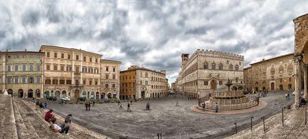 PERUGIA, ITALY - SEPT.27, 2015: View of Piazza IV Novembre, Perugia, Umbria, Italy