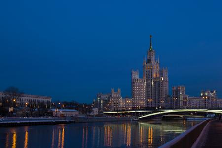 kotelnicheskaya embankment: One of seven Stalin skyscrapers: the high-rise building on Kotelnicheskaya Embankment in night illumination, Moscow