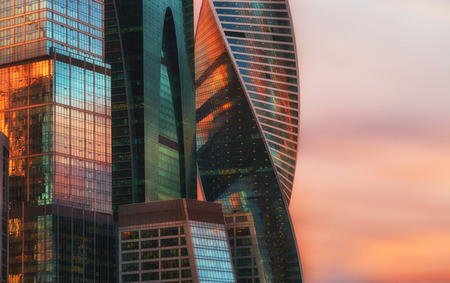 business center: MOSCOW - APRIL 14, 2015: The Moscow International Business Center, Moscow-City . Located near the Third Ring Road, the Moscow-City area is currently under development.; Editorial