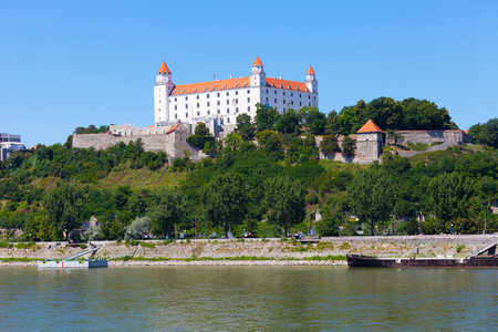 slovak republic: Medieval castle on a hill in a summer day in Bratislava, Slovakia
