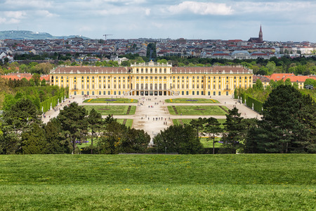 gloriette: Beautiful view of famous Schonbrunn Palace with Great Parterre garden in Vienna, Austria