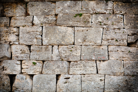 overbuilding: stone wall texture close up Stock Photo