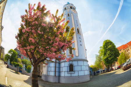 slovak republic: Cherry blossoms sakura near the Sacred Elizabeths church (Blue church, 1913), Bratislava, Slovakia , fisheye Stock Photo