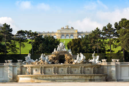 king neptune: View on Gloriette structure and Neptune fountain , Vienna, Austria