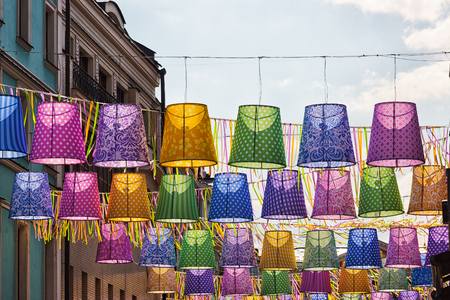 lampshades: Outdoor decorative ornaments in the form of multi-colored lampshades