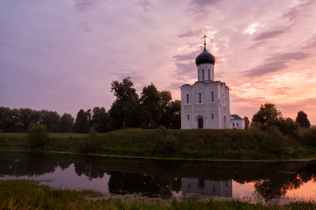 nerl: Beautiful sunset over Church of the Intercession of the Holy Virgin on Nerl River, Bogolyubovo, Russia