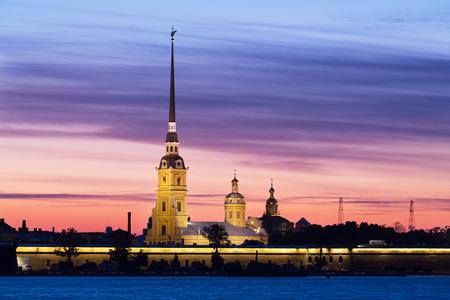 サンクトペテルブルク、ロシア、サンライズにピーターおよびポールの要塞 写真素材