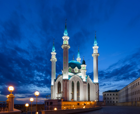 View of the mosque Qol Sharif in Kazan at night, Russia Stock Photo