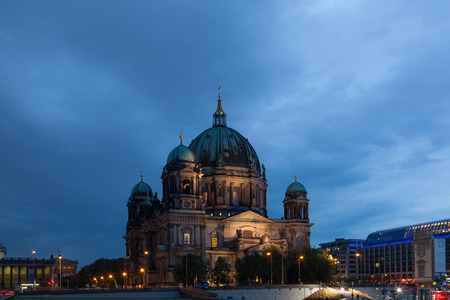 museum visit: Berlin Cathedral (Berliner Dom) in evening illumination, Germany Stock Photo