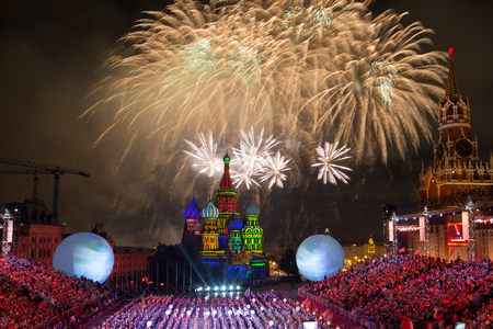 RUSSIA, MOSCOW - AUGUST 26, 2016: A festival of military orchestras Spasskaya Tower at Red Square Editorial