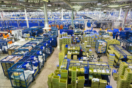 RUSSIA, MOSCOW - DECEMBER 16, 2015: The main sorting center of the international post office in Moscow Editorial