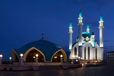 View of the mosque Kul Sharif in Kazan at night, Russia