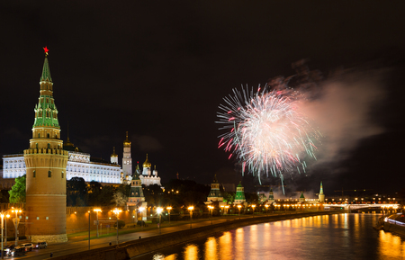 Fireworks over the Moscow Kremlin at night. View of the Moscow River, Russia Stock Photo