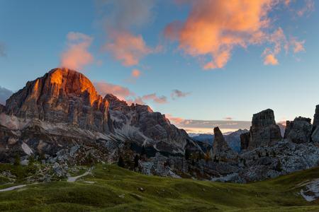 torri: Mountain Cinque Torri (The Five Pillars) at sunrise, Dolomites, Italy