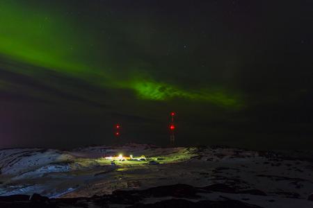 magnetosphere: Aurora borealis Green on Teriberka in Murmansk region, Russia