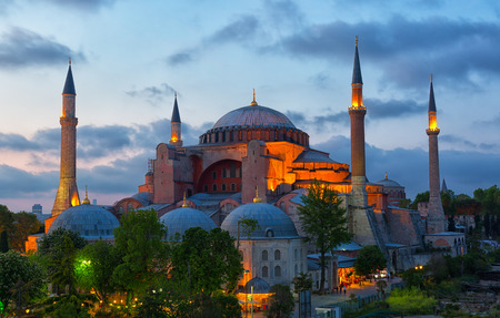 St. Sophia Cathedral on a sunset, Istanbul Stock Photo